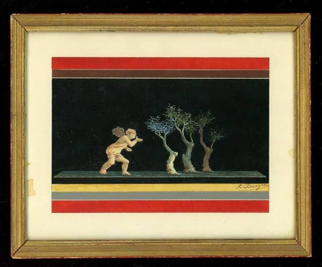 Painting of cupid blowing a kiss to three trees