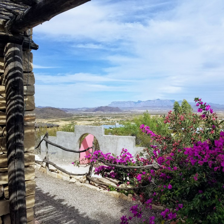 The Chisos Mountains from the shade of the courtyard at La Posada Milagro