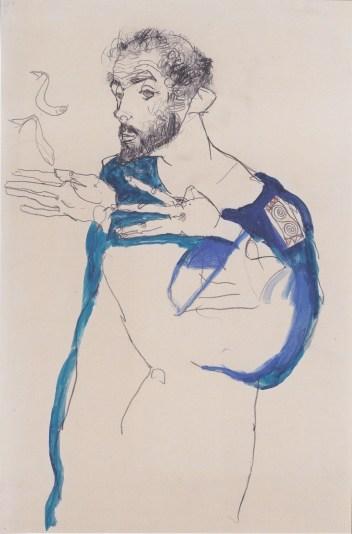 Blog 2701 Egon Schiele, Gustav Klimt en blouse bleue (1913)