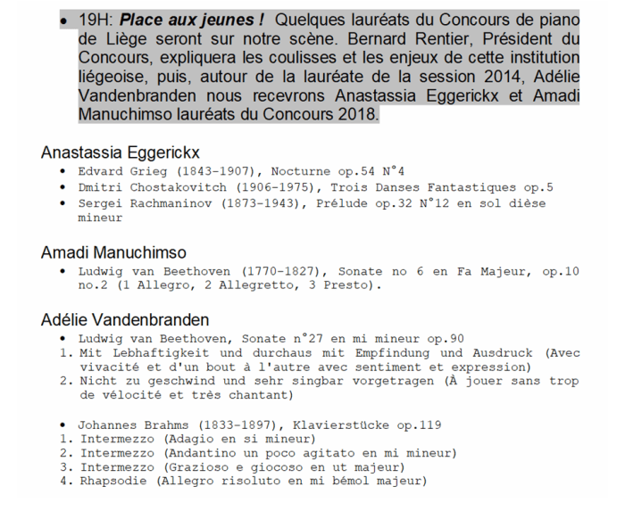 Récital Concours de piano de Liège
