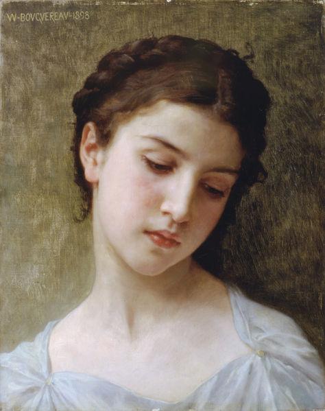41. William Bouguereau, Visage d'une jeune femme (1898).