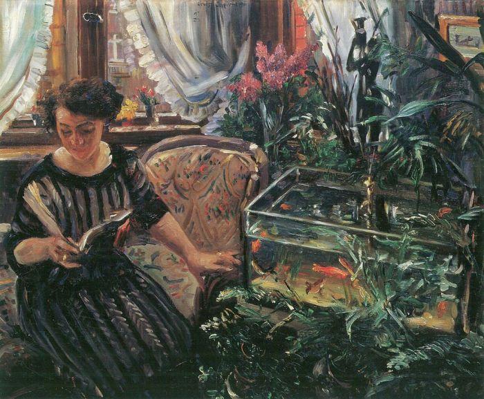 12a. Lovis Corinth, Dame am Goldfischbassin 1911.