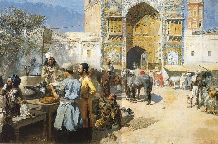 Lord Edwin Weeks, Un restaurant en plein air près de Lahore, 1889.