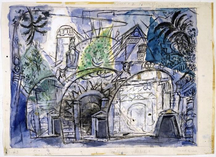 32c. Marc Chagall, Maquette pour le décor de la Flûte enchantée, 1966-1967.