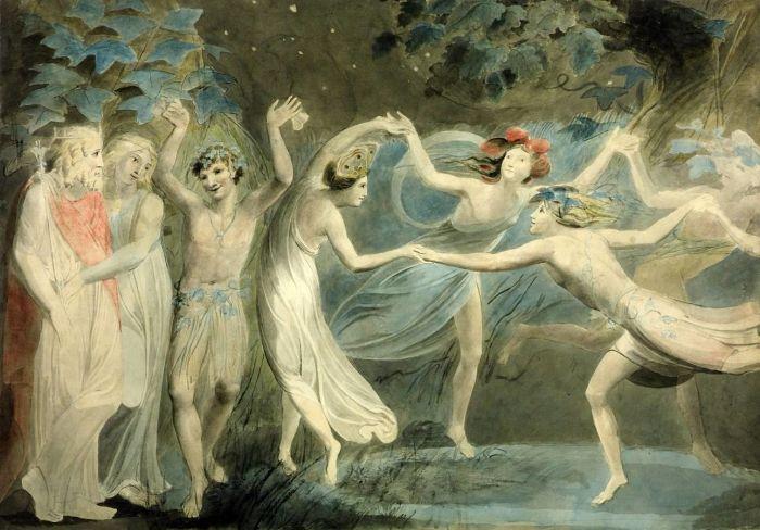38a. William Blake, Oberon, Titania et Puck avec des fées, 1785.