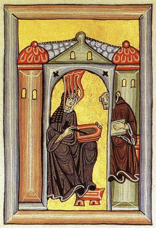 61b. Hildegard recevant l'inspiration divine, Codex des Liber Scivias (1151-52).