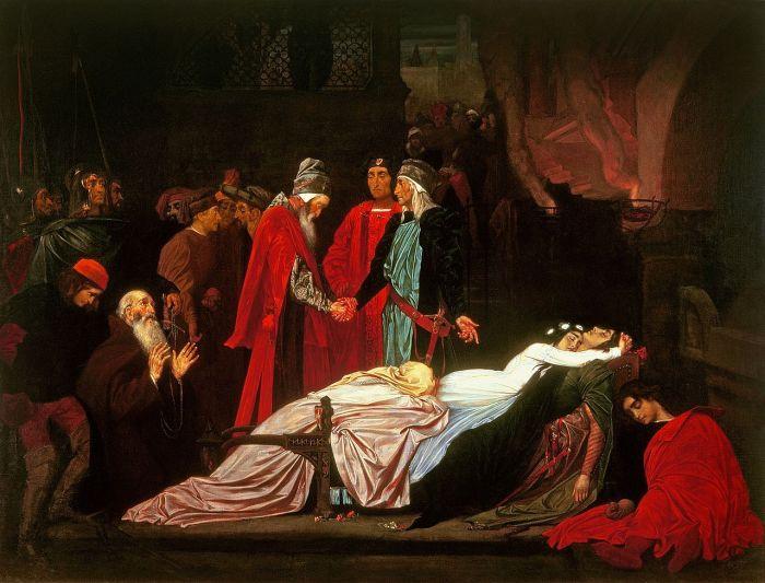 65b. Frederic Leighton, La Réconcilliation des Montaigu et des Capulet devant les corps de leurs enfants, vers 1850.