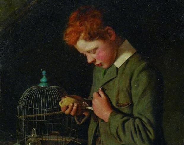 75a. Charles Spencelayh (1865-1958), Son premier chagrin, 1910 (détail)