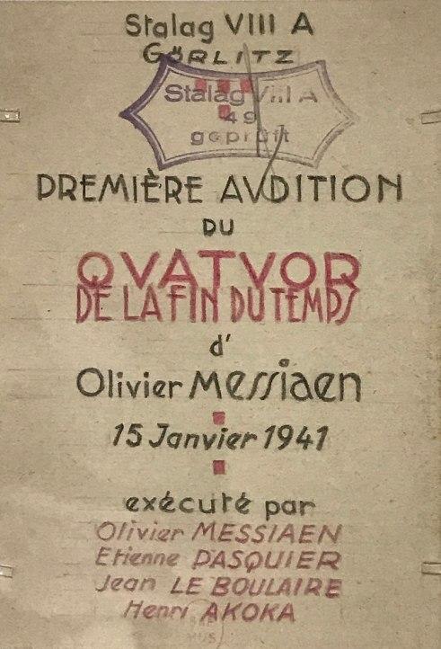 77e. Invitation pour la création du Quatuor pour la fin du Temps réalisée par un détenu du Stalag de Görlitz