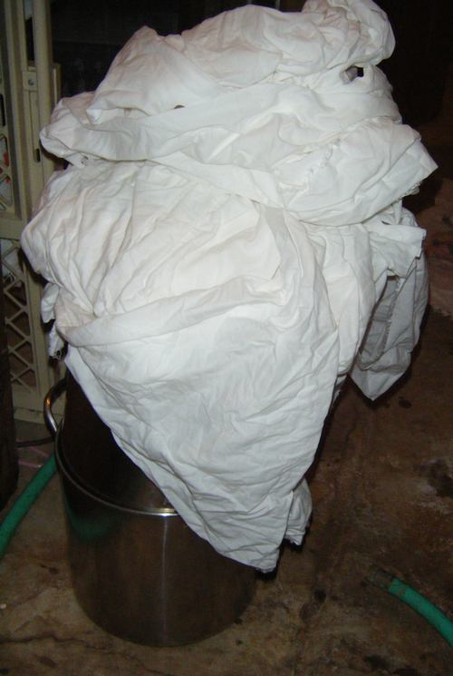 pile of fabric ready to dye