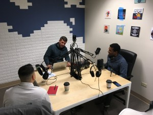 men sitting in podcast studion b2b sales and marketing jmsaint