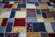 The quilt fabrics were picked out to match my family room.