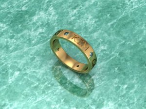 Gold Multi Stoned Personalized Ring