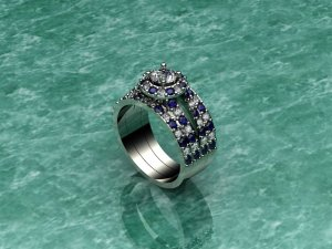 White Gold Diamond & Sapphire Three Band Ring