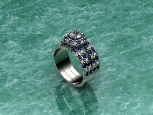 White Gold Diamond & Sapphire Three Band Ring
