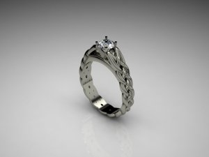 Single Diamond Centre Celtic Band Engagement Ring