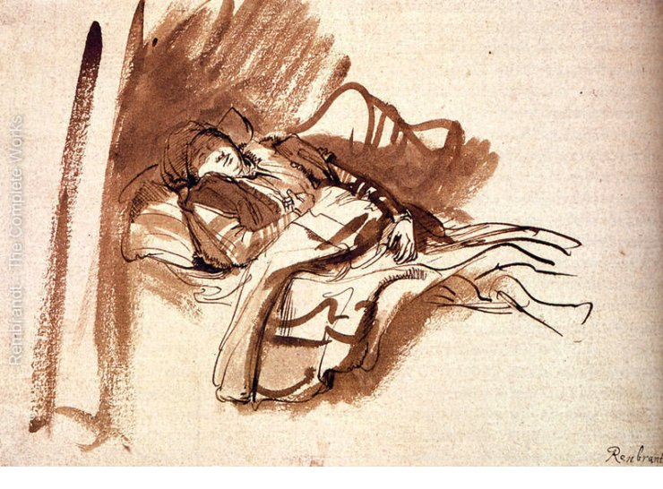 Saskia duerme, por Rembrandt