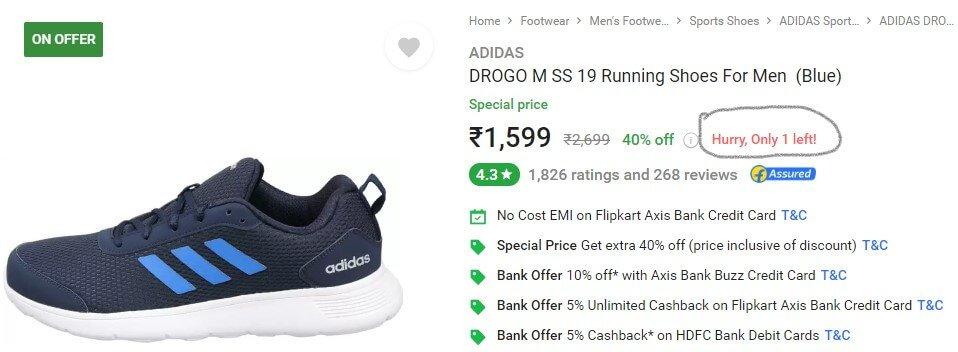 Limited Stock Flipkart Product Adidas Shoes