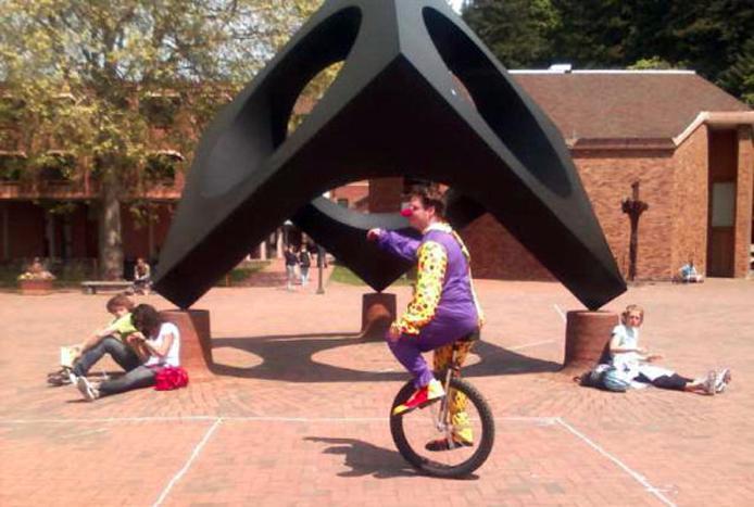 Clown on unicycle WWU