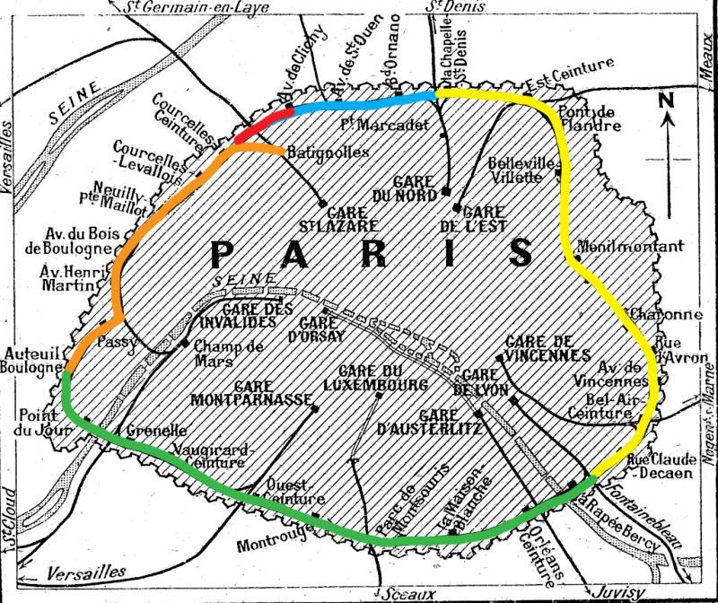 Carte Petite Ceinture de Paris