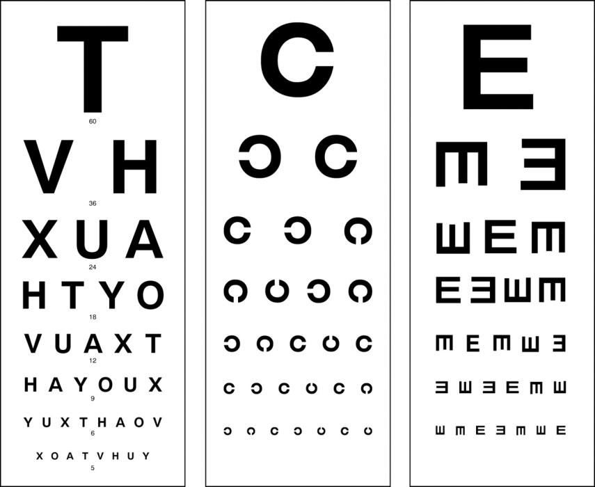 לוח סנלן לבדיקת חדות ראיה ולוחות נוספים