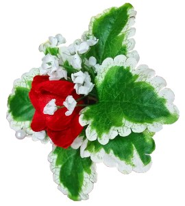 Red and green silk flower boutonniere