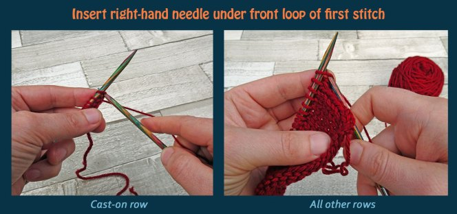 Learn to knit the knit stitch - step 1