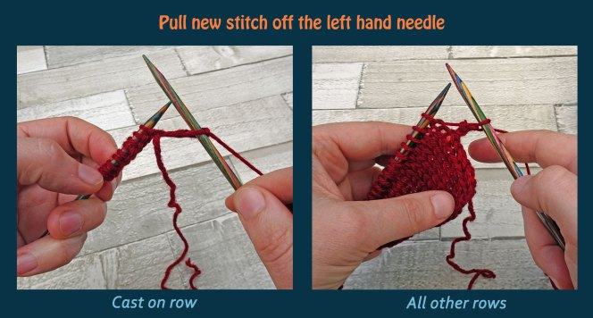 Learn to knit the knit stitch - step 5