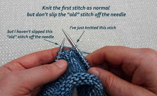 How to increase knitting stitches using KFB - step 1