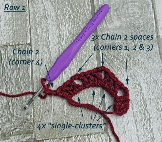 How-to-crochet-a-Granny-Square---row-1