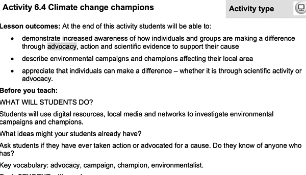 climate activities, school, education