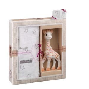 Sophiesticated ajándékszett Sophie zsiráf+nagyméretű muszlin kifogó