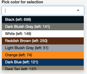 Colored drop-down to select colors