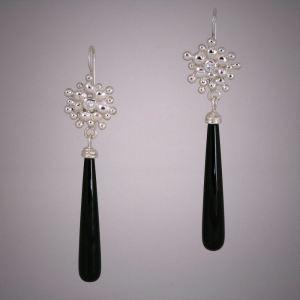 Riverstone Onyx and Moissanite Dangle Earrings for Ballet Ball