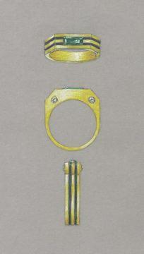 Gold, enamel, emerald and diamond gents' ring rendering by Joana Miranda