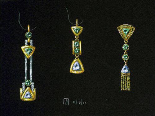 Tsavorite and aquamarine earring variations by Joana Miranda