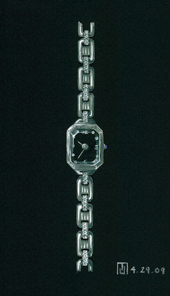 Diamond, platinum, sapphire, black face watch design by Joana Miranda