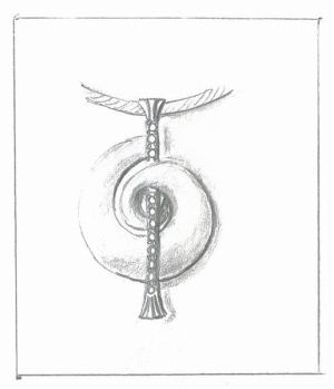Shell and Diamond Pendant Sketch