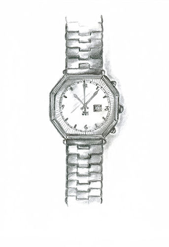 Pencil Sketch of Mens' Watch by Joana Miranda