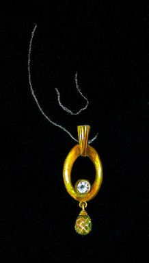 Watercolor and Gouache 18K Yellow Gold, Diamond and Citrine Briolette Rendering by Joana Miranda
