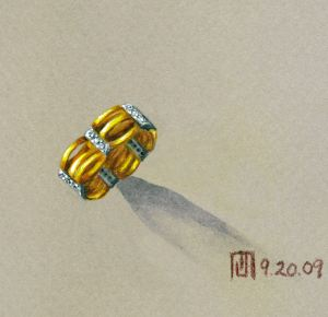 """The Blues"" gold ring with diamonds rendering by Joana Miranda"