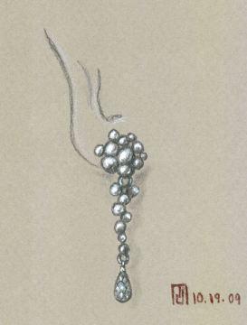 Pencil and Gouache Sketch for Riverstone Earring by Joana Miranda