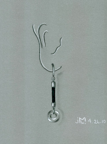 Silver and Black Rubber Earring Design by Joana Miranda