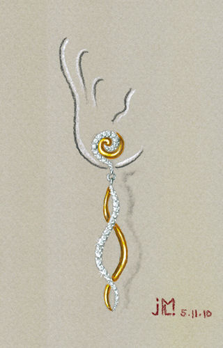 Watercolor and gouache gold and diamond double S-shape earring rendering by Joana Miranda
