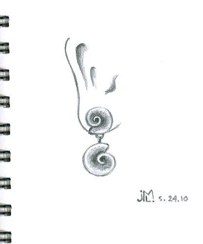 Pencil Sketch of Double Shell Motive Earring by Joana Miranda