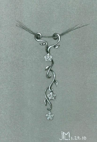 Pencil and Gouache Flower Vine Necklace Design by Joana Miranda