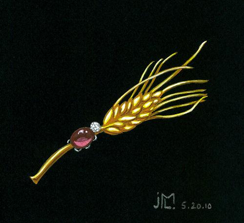 Watercolor and gouache lady bug on wheat branch brooch by Joana Miranda