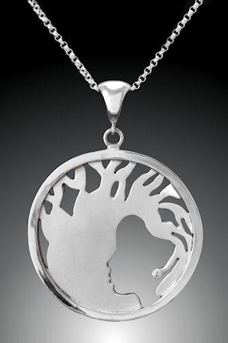 Photo of Argentium Sterling Silver and Diamond Baobab Tree Pendant by Joana Miranda