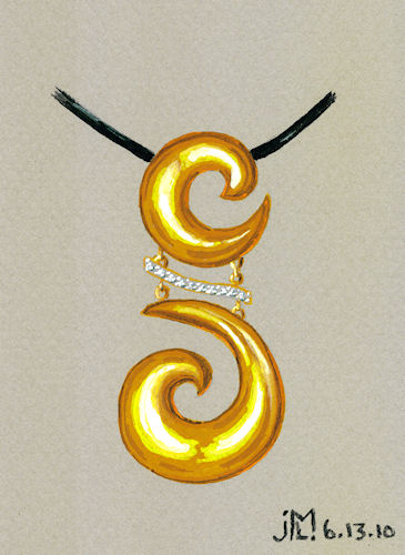 Watercolor and gouache double gold coil pendant with diamond accents by Joana Miranda