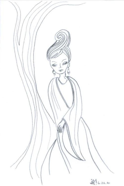 "Line Drawing in Pencil of ""Jeweled Lady"" #4 by Joana Miranda"